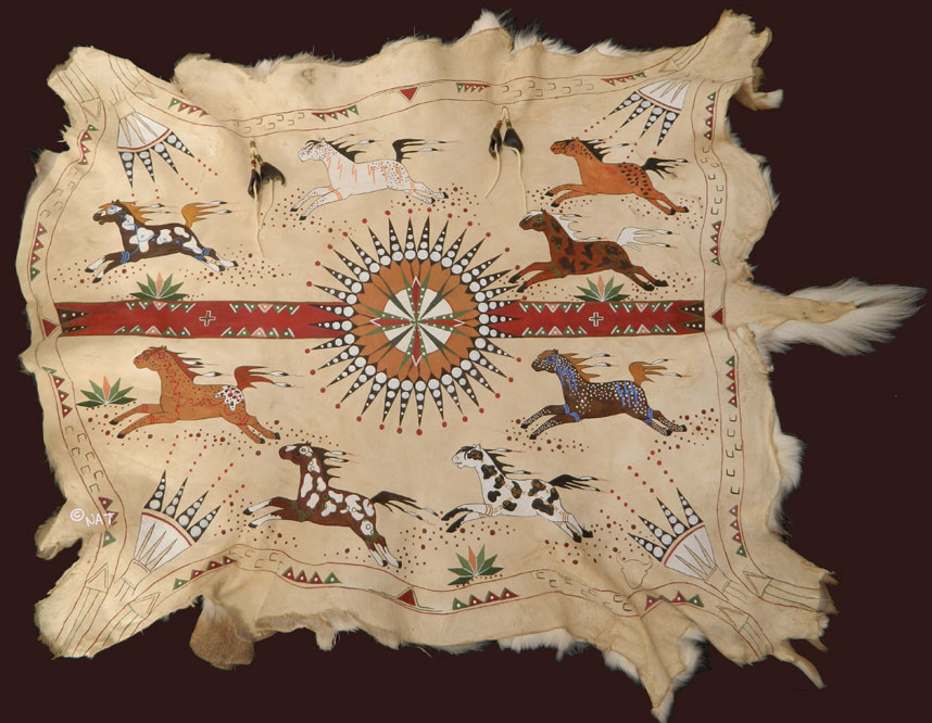 Plains Indian Painted Buffalo Robes
